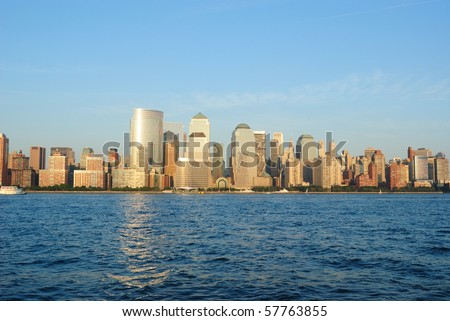Modern architecture in the Financial District of New York City along the Hudson River. - stock photo