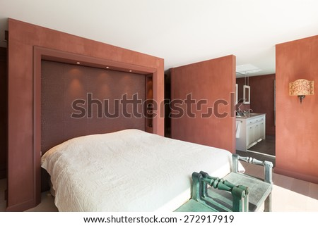 modern architecture, Interior, beautiful penthouse, bedroom - stock photo