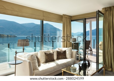 modern architecture, Interior, beautiful penthouse, living room - stock photo