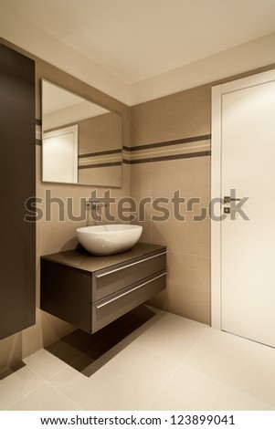 modern architecture, new apartment, bathroom - stock photo