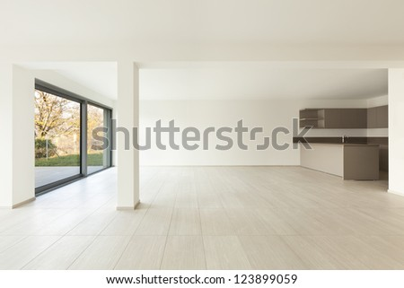 modern architecture, new empty apartment, wide room - stock photo