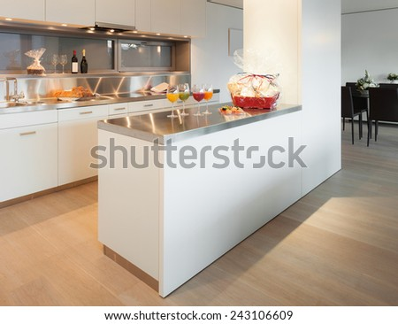 Modern architecture, nice apartment, kitchen view  - stock photo