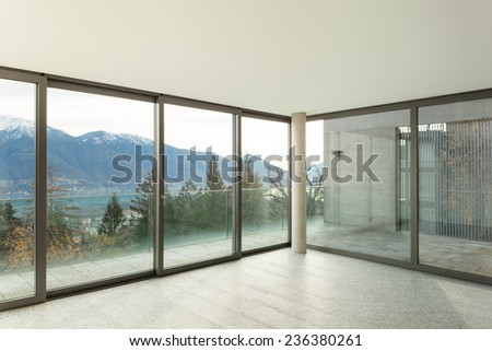 Modern architecture, nice apartment, room with windows - stock photo