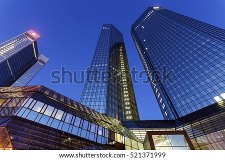 Modern architecture of downtown of Frankfurt. Frankfurt, Hesse, Germany