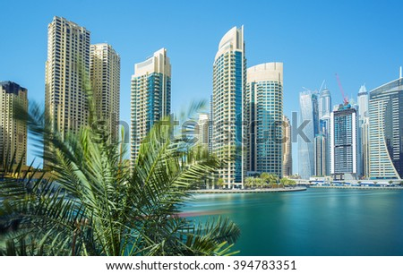 Modern architecture of Dubai in luxury Dubai Marina,Dubai,United Arab Emirates - stock photo