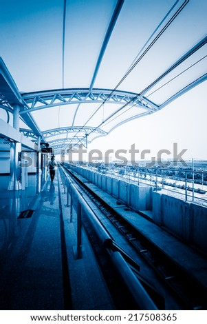 Modern Architecture of light rail station in shanghai china. - stock photo