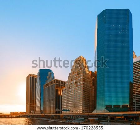 Modern architecture of Manhattan. Sunset in New York City. - stock photo