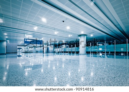 Modern Architecture of shanghai airport, walkway and roof with nobody scene. - stock photo