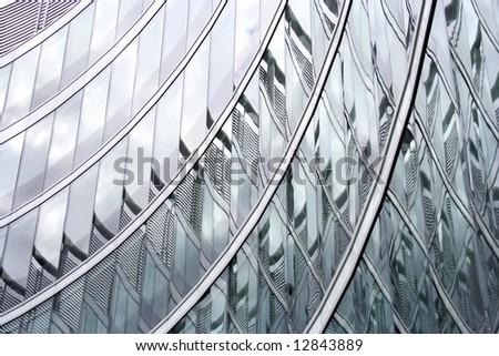 Modern architecture, Poland. Details of skyscraper in Warsaw. Architect Norman Foster. - stock photo