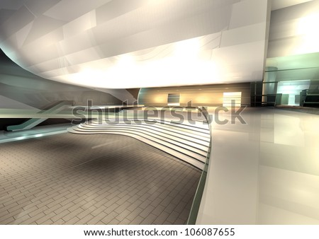 modern architecture rendered, interior of hall - stock photo