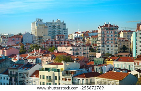 Modern architecture up hill in Lisbon, Portugal - stock photo