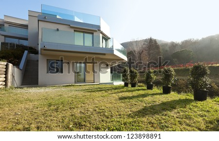 modern architecture, view from the ground - stock photo
