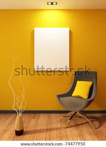 Modern armchair and blank on the wall in orange interior. Wooden Parquet - stock photo