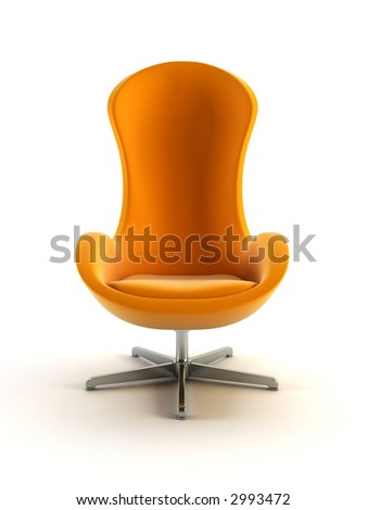 modern armchair 3D computer rendering on white background - stock photo