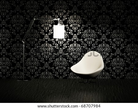 modern armchair in the  room - stock photo