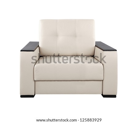 modern armchair isolated on white background - stock photo