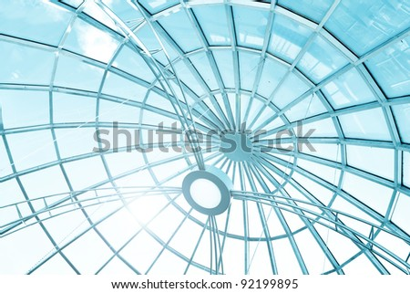 modern art from glass and metal, roof background - stock photo