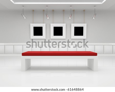 Modern art gallery with blank frame and bench - rendering - stock photo
