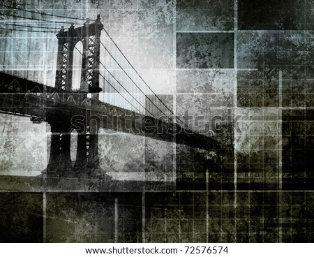 Modern Art Inspired New York City Bridge - stock photo