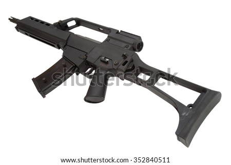 modern assault rifle isolated on a white background - stock photo