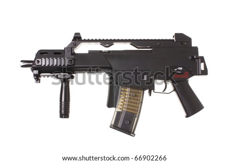 Modern assault rifle with folding stock on white background.