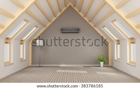 Modern attic without furniture and black air-conditioner on wall - 3D rendering - stock photo