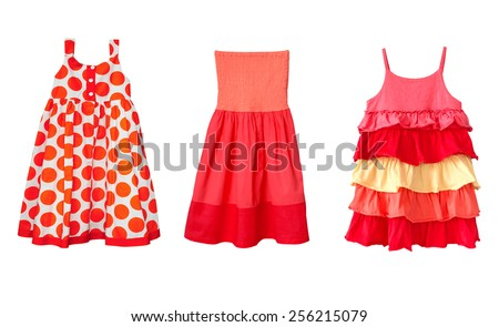 Modern baby girl clothes isolated on white.Kid's summer red dresses collage. - stock photo