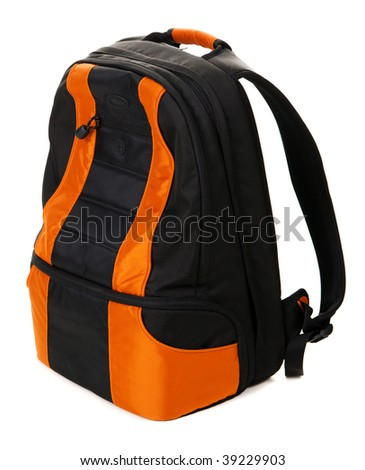 Modern backpack isolated on white background - stock photo