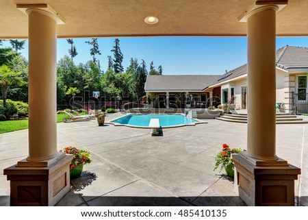 Mansion pool stock images royalty free images vectors shutterstock for Private swimming pools long island