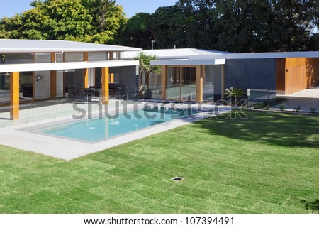 Modern Backyard Swimming Pool Australian Mansion Stock Photo