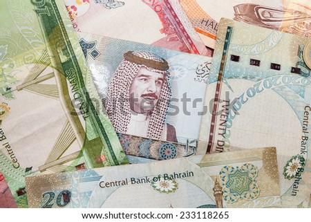 Modern Bahrain dinars banknotes, close up background - stock photo