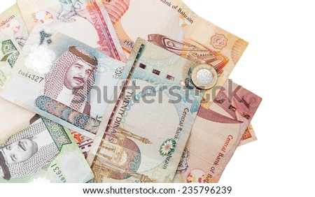 Modern Bahrain dinars banknotes, close-up background photo isolated on white - stock photo