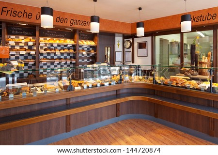 Modern Bakery Interior Glass Display Counters Stock Photo (Royalty Free)  144720874   Shutterstock