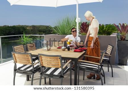 Modern balcony in luxury penthouse - stock photo