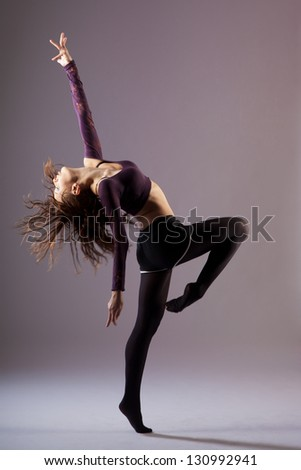modern ballet dancer dancing - stock photo