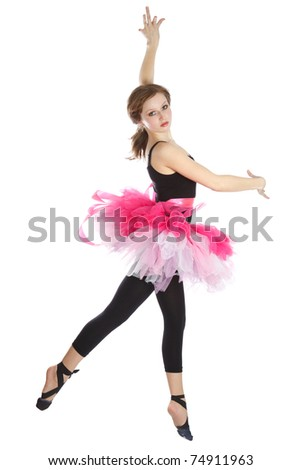 Modern ballet dancer dancing on the white background.