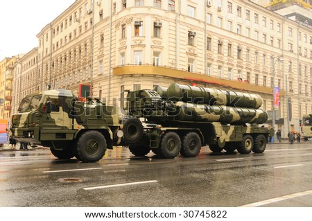 Modern ballistic nuclear rockets on rehearsal of military parade in Moscow, Russia