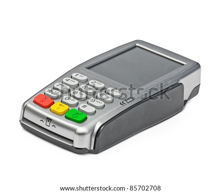 Modern bank terminal on the white - stock photo