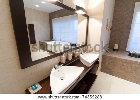 modern bathroom - stock photo