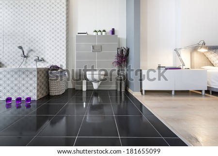 Modern bathroom and bedroom wide view - stock photo