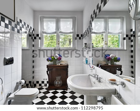 modern bathroom black and white - stock photo