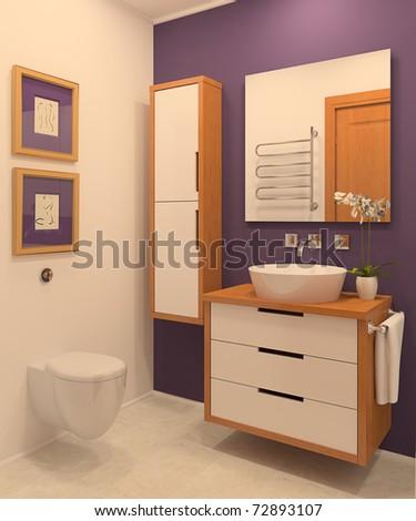 Modern bathroom. 3d render. - stock photo