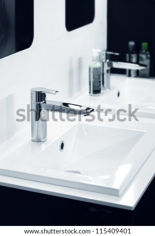 Modern bathroom detail in black and white