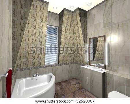Modern bathroom, exclusive design - stock photo