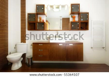 Modern bathroom furniture - stock photo