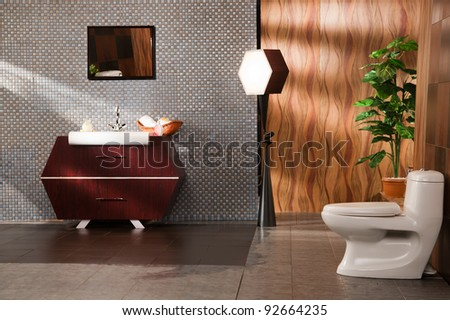 modern bathroom in a luxury apartment - stock photo