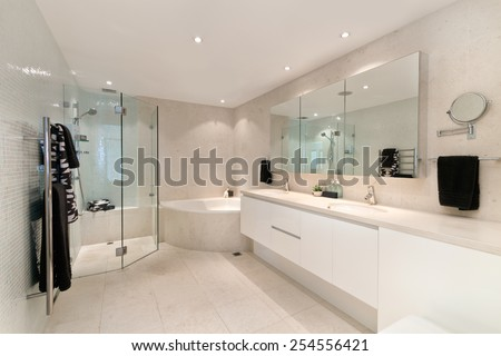 Modern bathroom in luxury apartment - stock photo