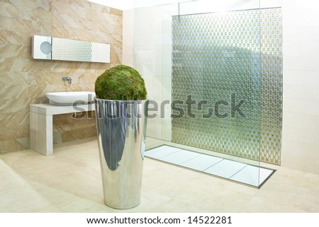 Modern bathroom in marble with big shower - stock photo