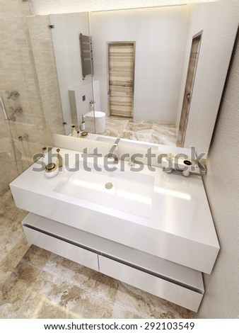 Modern bathroom in 5 star hotel. Luxurious design in white and yellow colors. 3D render.