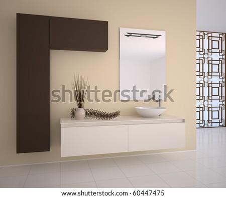 Modern bathroom interior. 3d render. - stock photo